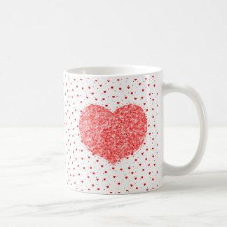 Caneca De Café Textura do brilho do coração & teste padrão