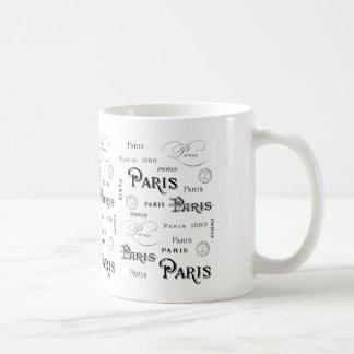 Caneca De Café Tipografia 1889 da palavra de Paris & marcas
