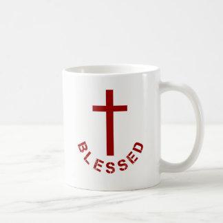 Caneca De Café Tipografia abençoada cristão da cruz vermelha