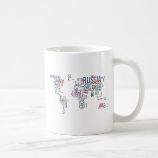 Caneca De Café Tipografia da aguarela dos países do mundo