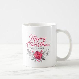 Caneca De Café Tipografia moderna & buquê do Feliz Natal