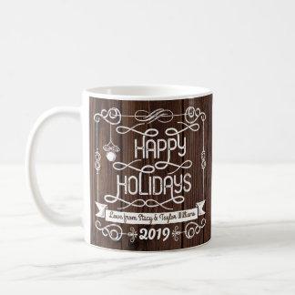 Caneca De Café Tipografia rústica do Natal da madeira boas festas