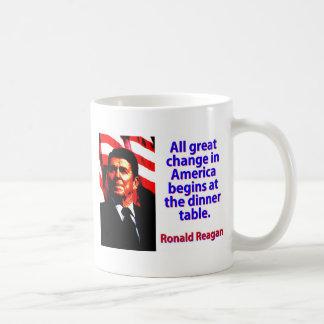 Caneca De Café Toda a grande mudança em América - Ronald Reagan