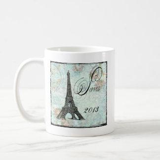 Caneca De Café Torre Eiffel e rosas cor-de-rosa Paris