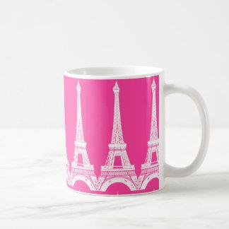 Caneca De Café Torres Eiffel Cor-de-rosa-n-Brancas quentes