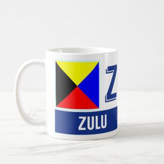 "Caneca De Café Tribo Zulu náutico do alfabeto ""Z"" das bandeiras"
