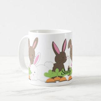 Caneca De Café Trio bonito do coelho de coelho personalizado