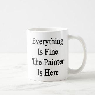 Caneca De Café Tudo é muito bem o pintor está aqui
