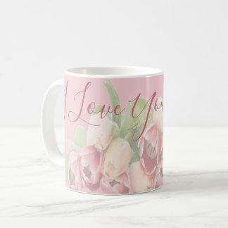 Caneca De Café Tulipas florais do rosa do pêssego da mamã   do
