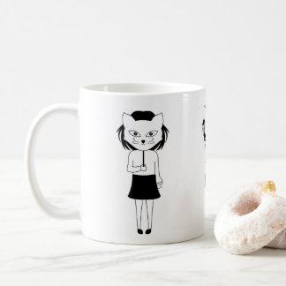 Caneca De Café uma menina com a máscara do gato