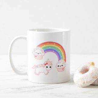 Caneca De Café Unicórnio do arco-íris do cupcake