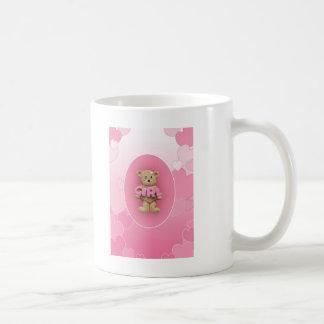 Caneca De Café Urso de ursinho cor-de-rosa da menina