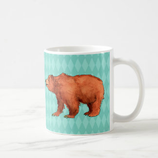 Caneca De Café Urso de urso no teste padrão do diamante da