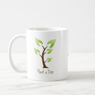 Caneca De Café Vai o verde.  Plante uma árvore. Salvar o planeta