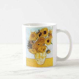 Caneca De Café Van Gogh o vaso com o copo de café de 12 girassóis