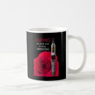 Caneca De Café Vaping e flor cor-de-rosa