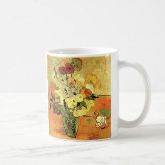 Caneca De Café Vaso japonês de Van Gogh com rosas e anêmonas