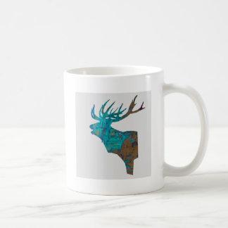 Caneca De Café veado principal dos cervos nos turquois