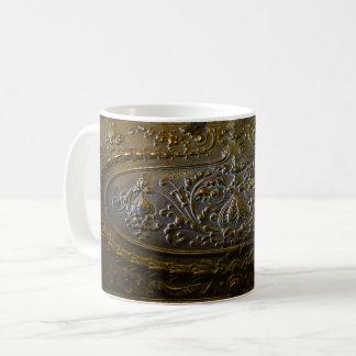Caneca De Café velhos florais elegantes da decoração do metal do