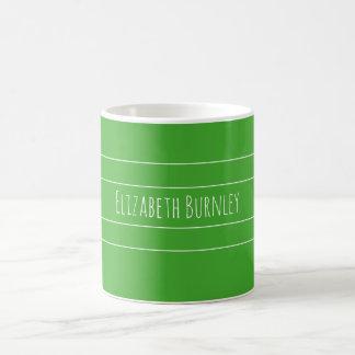Caneca De Café Verde do Budgerigar personalizado com seu nome