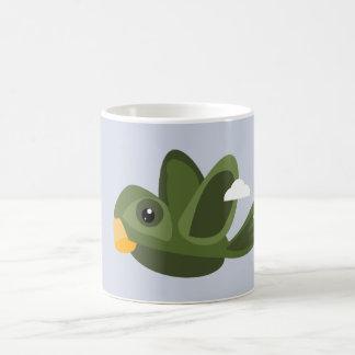 Caneca de café verde do papagaio