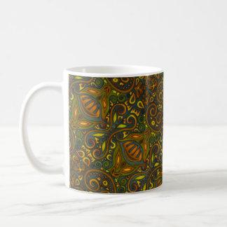Caneca De Café Verde e ouro