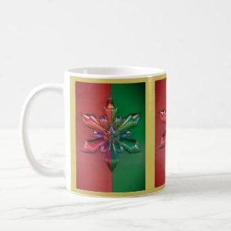 Caneca De Café Verde vermelho do feriado do Natal do ornamento do