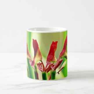 Caneca de café vermelha da flor do cacto