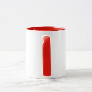 """Caneca de café vermelha e branca de """"WPB"""""""