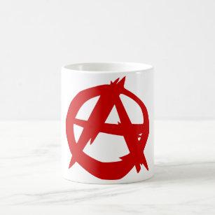 Caneca De Café Vermelho A do símbolo da anarquia e círculo sem