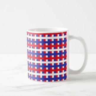 Caneca De Café Vermelho, branco e azul abstratos