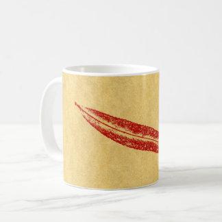 Caneca De Café Vermelho da folha do salgueiro do impressão da