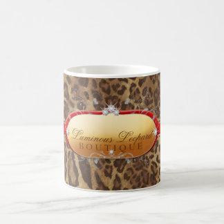 Caneca De Café Vermelho luminoso do leopardo 311