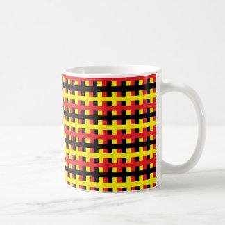 Caneca De Café Vermelho, preto abstrato e amarelo