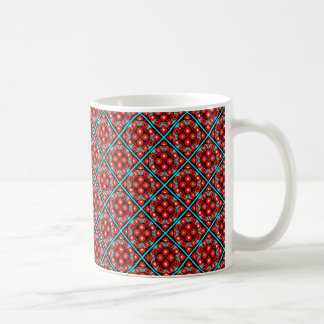 Caneca De Café Vermelho, turquesa e flor geométrica abstrata do
