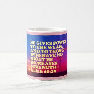 Caneca De Café Verso da bíblia do 40:29 de Isaiah.