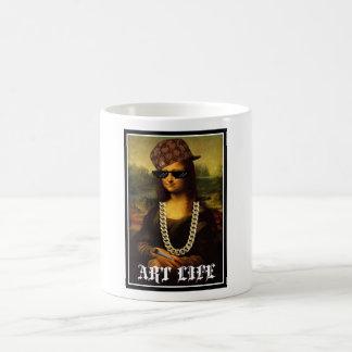 Caneca De Café Vida da arte da vida do vândalo de Mona Lisa