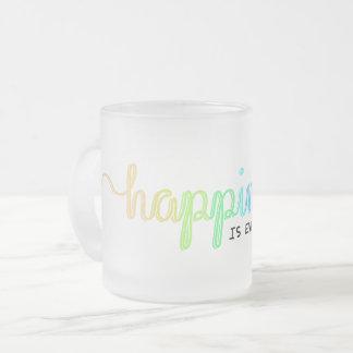 Caneca De Café Vidro Jateado A felicidade está em toda parte