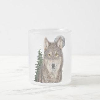 Caneca De Café Vidro Jateado arte do lobo