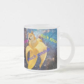 Caneca De Café Vidro Jateado banana   - doge - shibe - espaço - uau doge