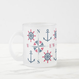 Caneca De Café Vidro Jateado Branco do marinho das âncoras & do compasso da