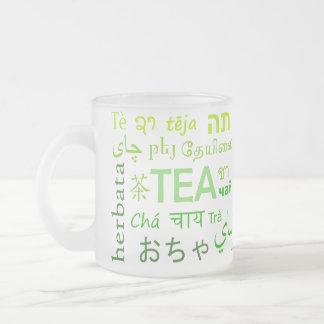 Caneca De Café Vidro Jateado Chá em cada língua no verde