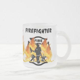 Caneca De Café Vidro Jateado Chamas do departamento do fogo