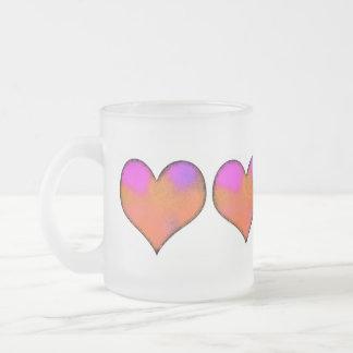 Caneca De Café Vidro Jateado coração