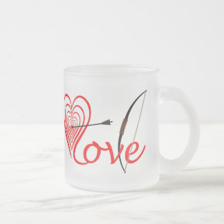 Caneca De Café Vidro Jateado Coração amor alvo com seta e arco