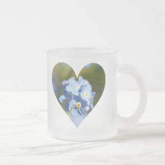 Caneca De Café Vidro Jateado Coração do conjunto de flor do miosótis