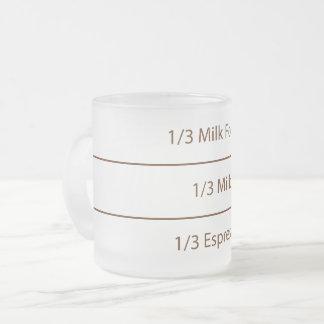 Caneca De Café Vidro Jateado Design de texto do café | do cappuccino da receita