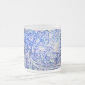 Caneca De Café Vidro Jateado Design frondoso azul legal