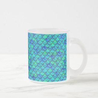 Caneca De Café Vidro Jateado Escalas do azul do Aqua de Falln