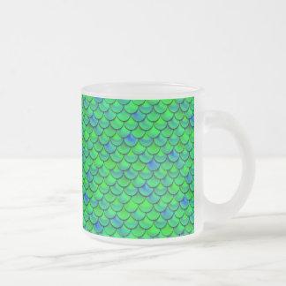 Caneca De Café Vidro Jateado Escalas verdes do azul de Falln